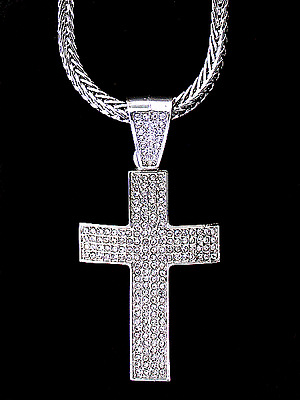 """ICED OUT WHITE GOLD FINISH SILVER CZ CROSS HIP HOP PENDANT & 36"""" FRANCO CHAIN"""