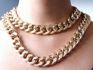 Newest-Shiny-Cut-LIGHT-GOLD-Plated-Chunky-Aluminium-Curb-Chain-Necklace-18-034-38-034