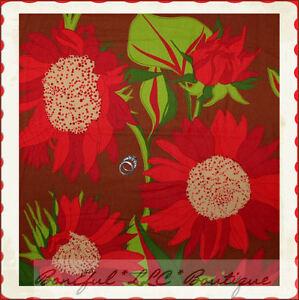 BonEful-Fabric-FQ-Cotton-Quilt-Brown-VTG-Flower-Red-Green-Leaf-Retro-Hippie-Xmas