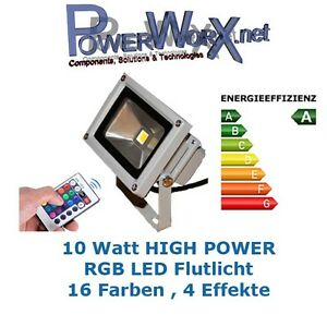 10 watt rgb flutlicht led strahler objektbeleuchtung fluter aussen 16 farben 10w ebay. Black Bedroom Furniture Sets. Home Design Ideas