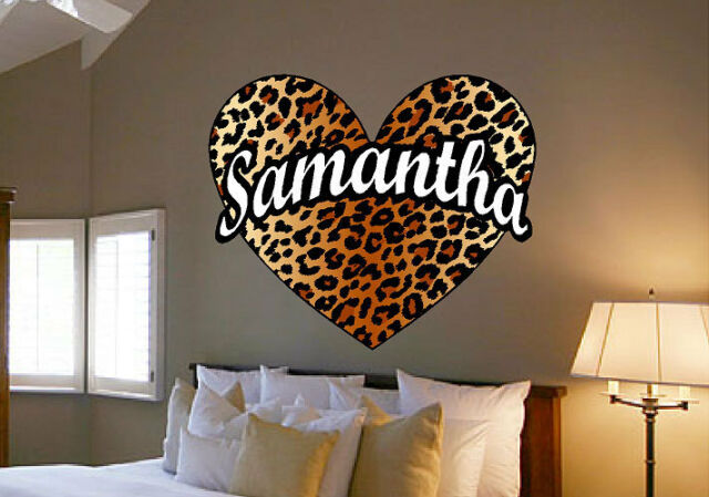 Realistic Leopard Spot Heart Vinyl Wall Decal Sticker