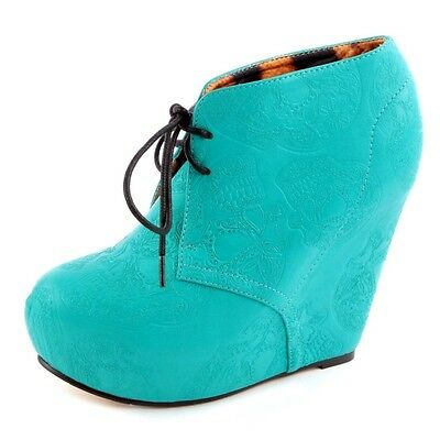 Iron Fist New TIGRE & BUNNY Teal Green WEDGE Tigre Pumps Bootie Platform Shoes