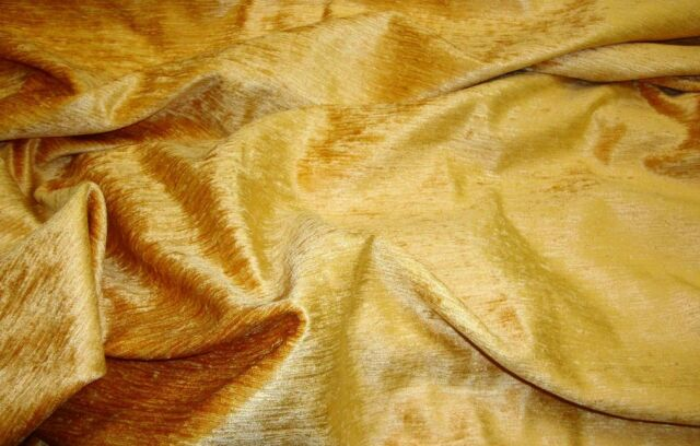 HONEY GOLD CHENILLE WITH SHEEN AND SLUB UPHOLSTERY AND DRAPERY FABRIC BY THEYARD