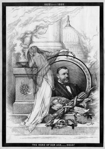 GENERAL ULYSSES S GRANT HERO OF OUR TIME IS DEAD BY THOMAS NAST HARPER/'S WEEKLY