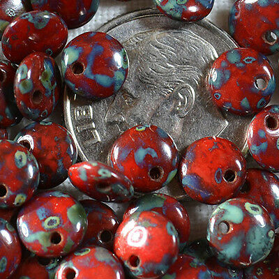 (50) Czech 6mm Lentil - Opaque Red - Picasso