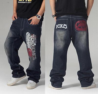 1#B New Ecko Unltd HIPHOP Mens SkateBoarding Black Pants Casual Printing Jeans