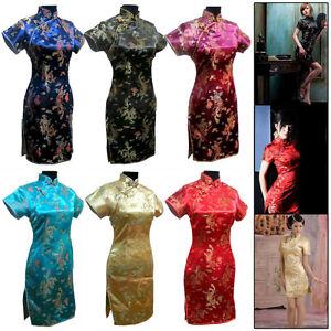 Chinese-Women-039-s-Dragon-amp-Phoenix-Mini-Cheongsam-Evening-Dress-QiPao