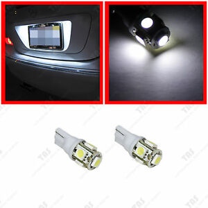 2x-T10-Wedge-License-Plate-Frame-Tag-White-5-SMD-LED-Light-Bulb-168-194-2825-W5W