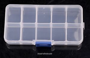 1 Hot New 10 Cells Slot Adjustable Transparent Jewelry Tool Storage Box PP