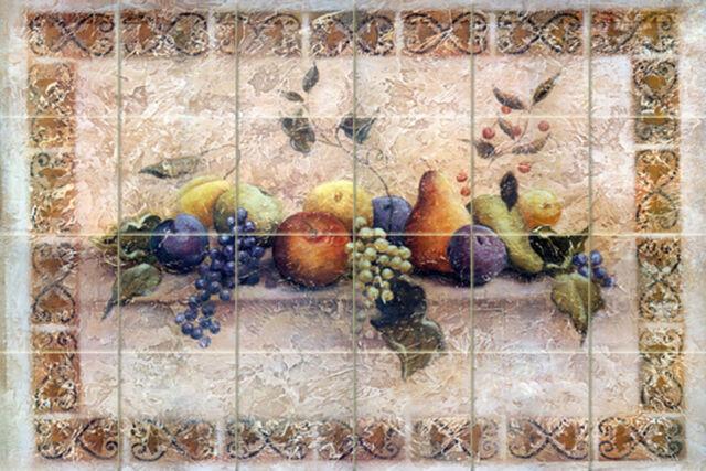 24 x 16 Art Colorful Fruit Mural Tumbled Marble Backsplash Bath Tile #148