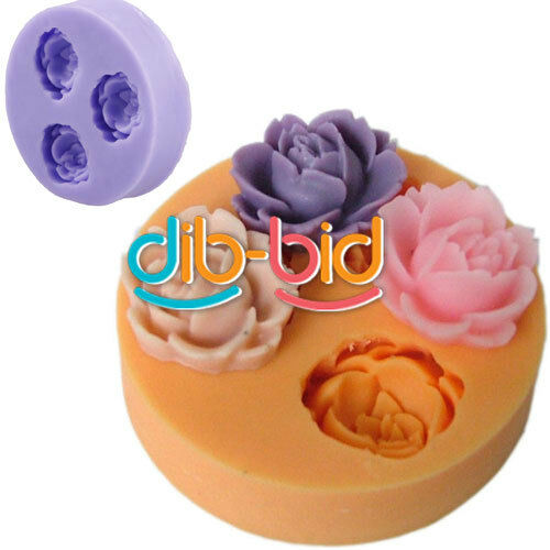3D Rose Flower Silicone Chocolate Fondant Cake Candle Soap Molds Moulds KZ UK