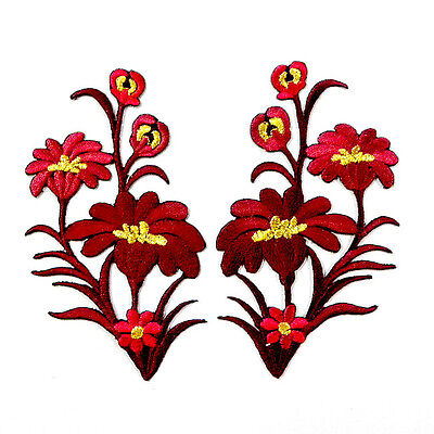 I0607 x1Pair (2pcs) Wild Red Flower Boho Sew/Iron On Patch Embroidered Applique