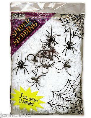 85g 3oz Halloween Spider Webbing Stretchable Cob Web with 8 Spiders Decoration