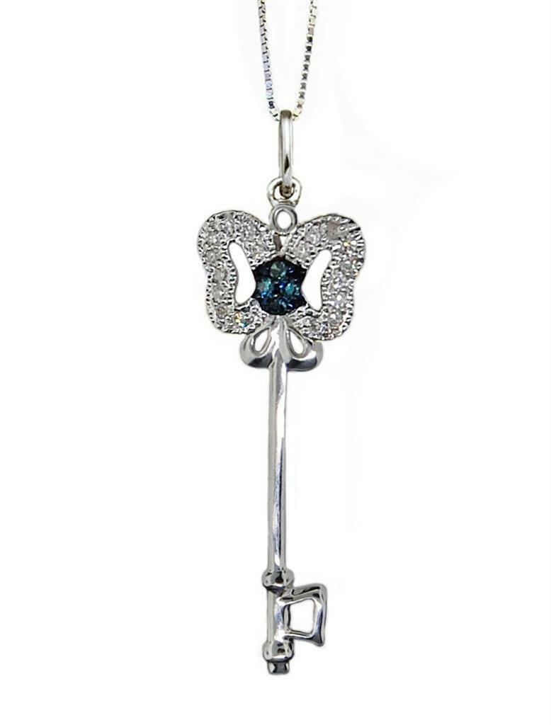 Diamond Butterfly Key Pendant 10K White gold bluee & White Diamond Pendant .10ct