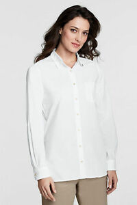 Nip land 39 s end women 39 s cotton long sleeve crisp poplin for Crisp white cotton shirt