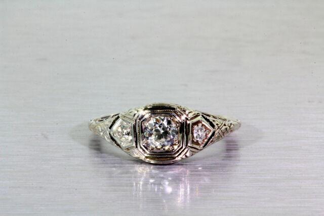 Antique 1920s .50ct VS G Diamond 3 Stone 14k White Gold Filigree Ring RARE