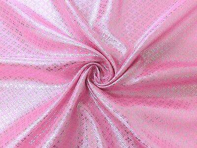 PINK & SILVER DIAMOND METALLIC BLING BROCADE FABRIC WEDDING TABLE DECOR CLOTH