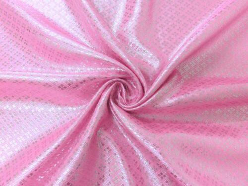 PINK & SILVER DIAMOND METALLIC BLING BROCADE FABRIC WEDDING TABLE DECOR CLOTH