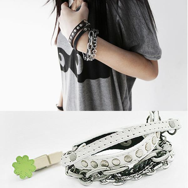 Cool Punk Gothic Stud Rivet Multi-layer Chain Leather Bracelet Bangle Wristband