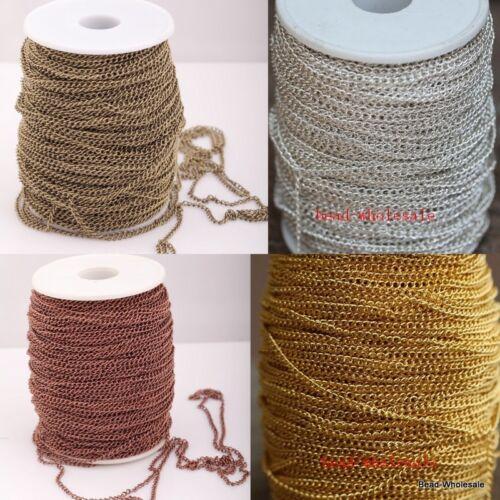 1/5/100M Silver/Golden/Bronze/Copper Curb Open Link Metal Chain 0.7*3*2mm