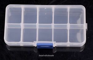 1 fashion 10 Cells Slot Adjustable Transparent Jewelry Display Storage Box PP