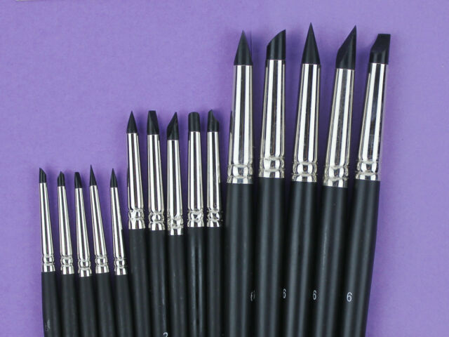 Set of 15 Flexible Silicone Color Shapers Clay Sculpting Tools #0 #2 #6 Black