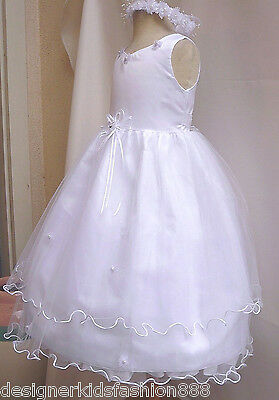 NEW WHITE COMMUNION PAGEANT GOWN WEDDING PARTY FLOWER GIRL DRESS 2 4 6 8 10 12