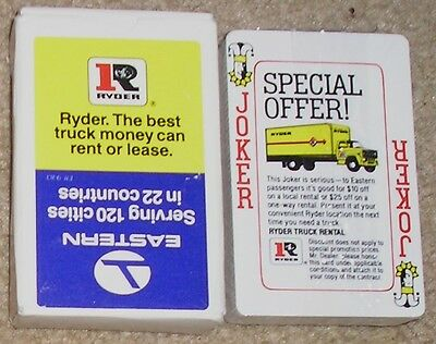 Vintage Seal Deck Eastern Airline Partners with Ryder Rental Truck Playing Cards