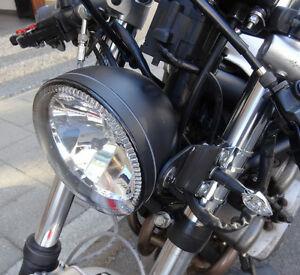motorrad scheinwerfer mit led standlichtring 5 3 4 zoll. Black Bedroom Furniture Sets. Home Design Ideas