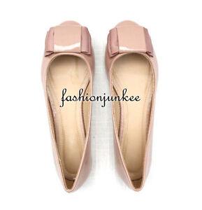 NUDE-Patent-SAMMI55-Ballet-Flats-BOW-Ribbon-Shoes-Shiny-Round-Toe-5-5-10-SIZE