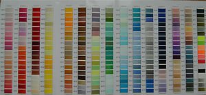 THREAD COLOR CARD ( includes 266 colors of polyester + metallics ) $8.00