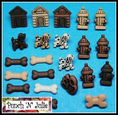TINY DOGS - Puppy Doggy Bone Kennel Animal Novelty Dress It Up Craft Buttons