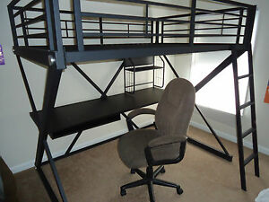 powell kids metal full size bunk bed with desk and chair ebay. Black Bedroom Furniture Sets. Home Design Ideas