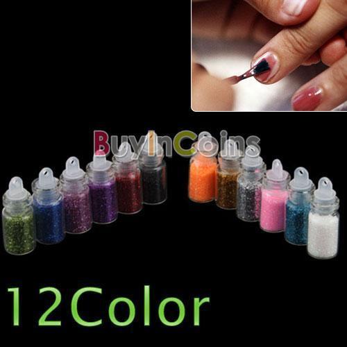 12 Color Glitter Decor Powder Dust Bottle Nail Art Set