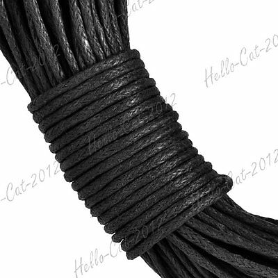 20M Waxed Cotton Cord String Thread Beading Leathercraft Making 1mm Black