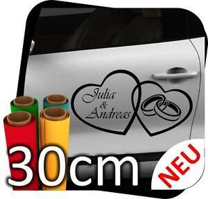 30cm Just Married Hochzeit Ringe Autoaufkleber Aufkleber Sticker No.16