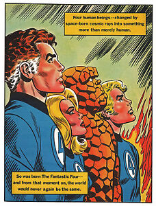 FANTASTIC-FOUR-PIN-UP-POSTER-Vintage-art-Marvel-UK-British