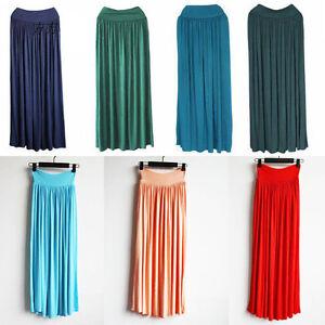 New-Lady-BOHO-Pleated-Vintage-Long-Elastic-Waist-Band-Long-Maxi-Dress-Skirts-Krh