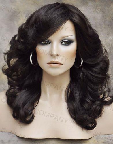 Striking Modern Farrah hairdo Medium Brown Wavy Curly Bangs NLFA 6