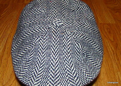 Mens Classic Kangol Wool  507 Herringbone  Ivy Cap Color Navy Blue