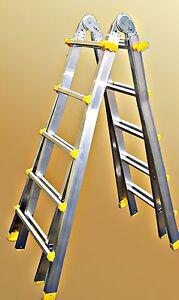 Vielzweckleiter-4x5-Sprossen-Klappleiter-Stehleiter-Industrie-Teleskopleiter-Neu