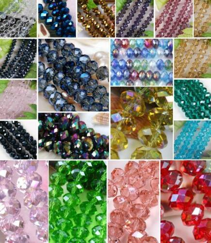Crystal Faceted Abacus Glass Rondelle Loose Beads Jewelry Making 10mm