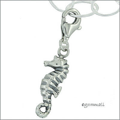 Antique Sterling Silver Seahorse Clip On Charm #51949