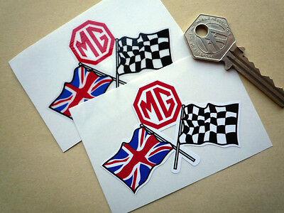 "MG Crossed Flags Car STICKERS 3"" Pair MGB ZT ZB MGC RACE RALLY Midget MGA TC RV8"