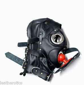 Real-LEATHER-lockable-mask-gimp-hood-living-dead-gag-belt-zip-cuir-maske-slave-6