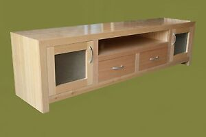 038 Local Made Hardwood Tassie Oak Lowline Tv Unit Living