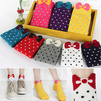 1 Pair Women Girls Polka Dot circle with bowknot Shape Ankle Casual Low Socks