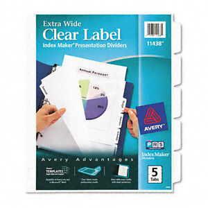 Avery Dennison Ave-11438 Index Maker Extra-wide Tab Divider - 5 X