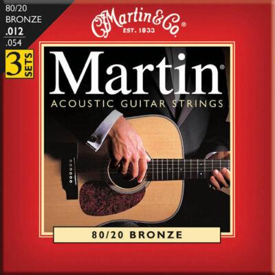 3 PACK MARTIN M140 LIGHT ACOUSTIC GUITAR STRINGS 80/20 BRONZE 12-54 3 SETS 3PK