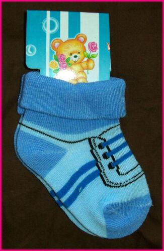 IMITATION SHOES Infant Sox NEW Boy or Girl age 0-6 mths BABY Socks Sz 00-1